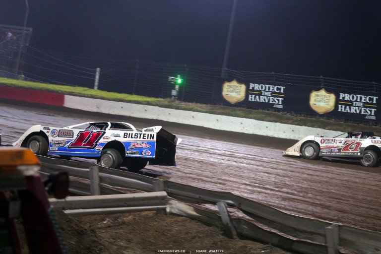 Spencer Hughes and Hudson O'Neal at I-80 Speedway - Lucas Oil Late Model Dirt Series 7954