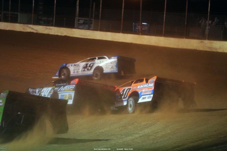Tim McCreadie and Kyle Bronson rubs doors - Portsmouth Raceway Park - Dirt Late Model Racing 7246