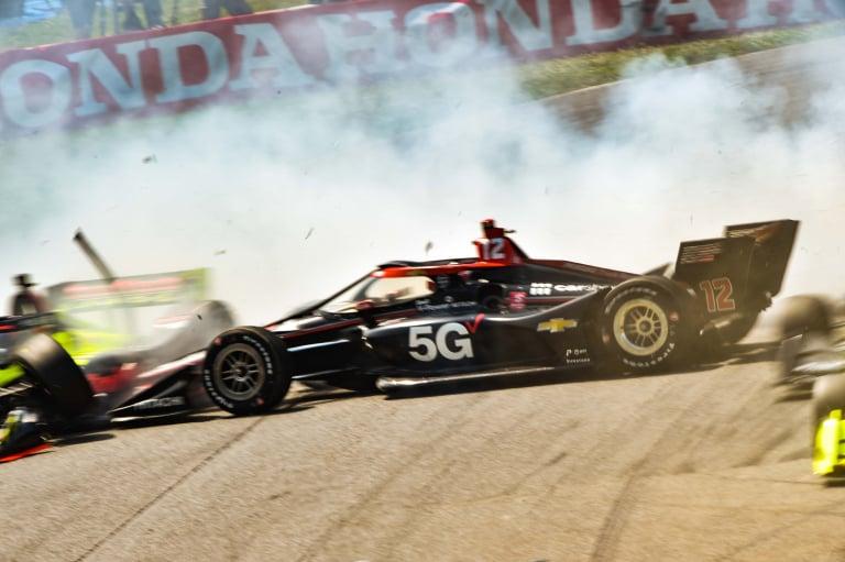 Will Power and Ed Jones crash - Mid-Ohio - Indycar Series