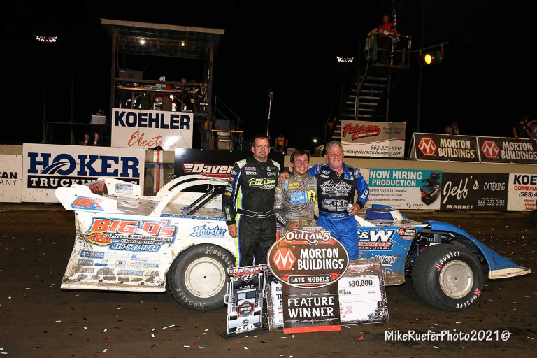 Devin Moran in victory lane - Davenport Speedway - World of Outlaws Late Model Series