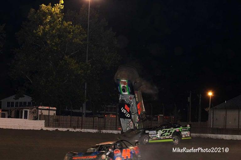Garrett Alberson crash 1 - Davenport Speedway - World of Outlaws Late Model Series