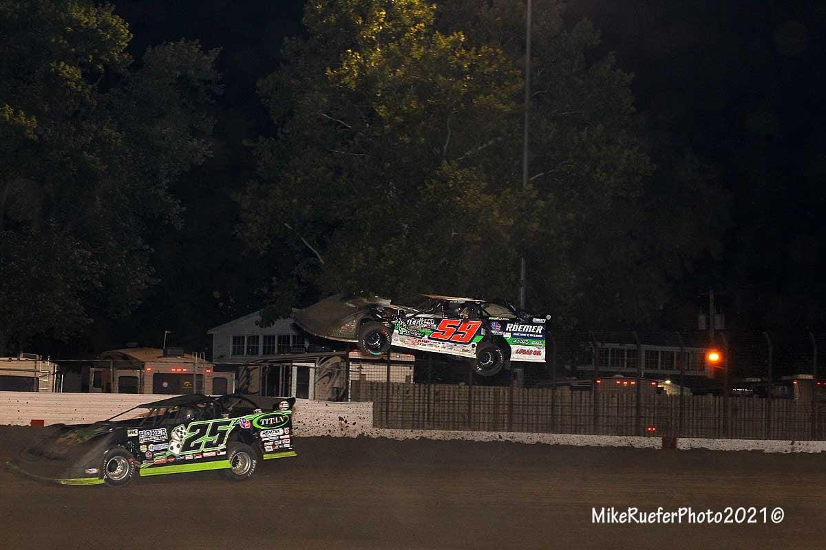 Garrett Alberson crash 2 - Davenport Speedway - World of Outlaws Late Model Series