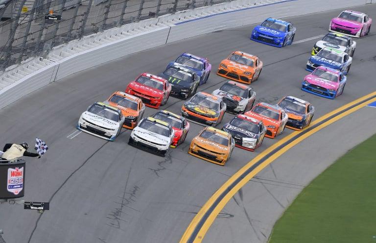 Justin Haley, AJ Allmendinger, Jeb Burton - Photo Finish - Daytona International Speedway - NASCAR Xfinity Series