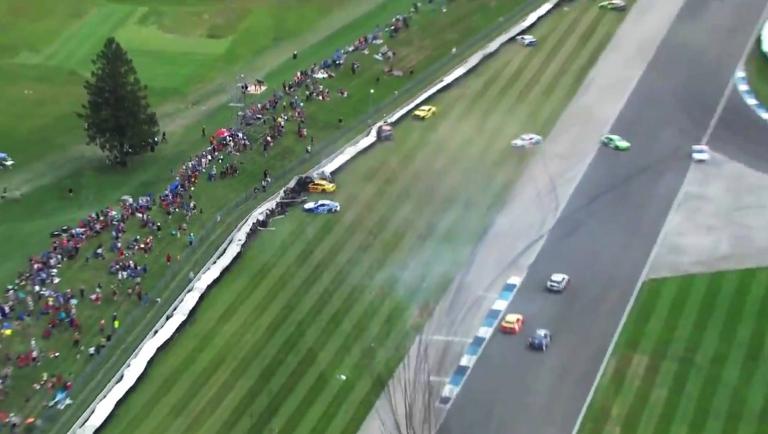 NASCAR crash - curb comes apart at Indianapolis Motor Speedway