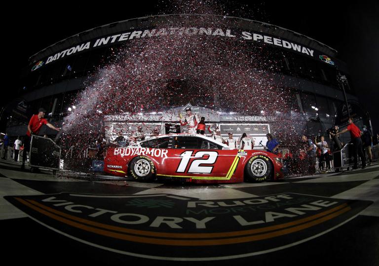 Ryan Blaney in victory lane - Daytona International Speedway - NASCAR Cup Series