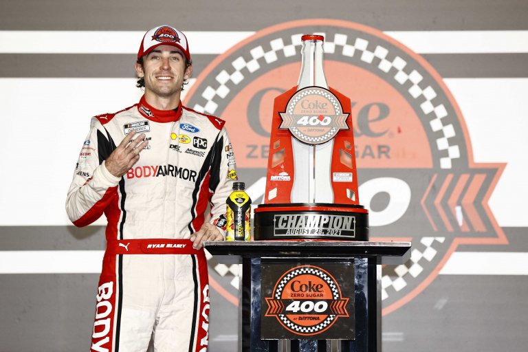 Ryan Blaney in victory lane at Daytona International Speedway - NASCAR Cup Series