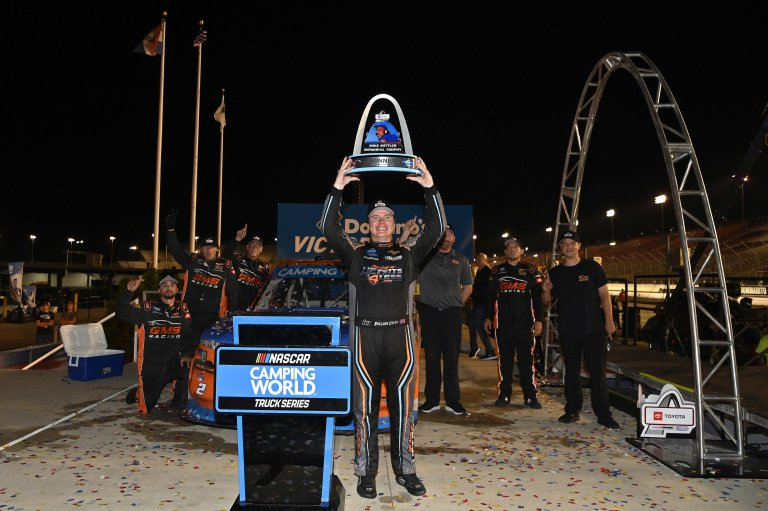 Sheldon Creed stands in victory lane Gateway - NASCAR Truck Series 2
