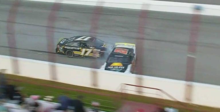 Taylor Gray crashes Daniel Dye at Winchester Speedway - ARCA Menards Series
