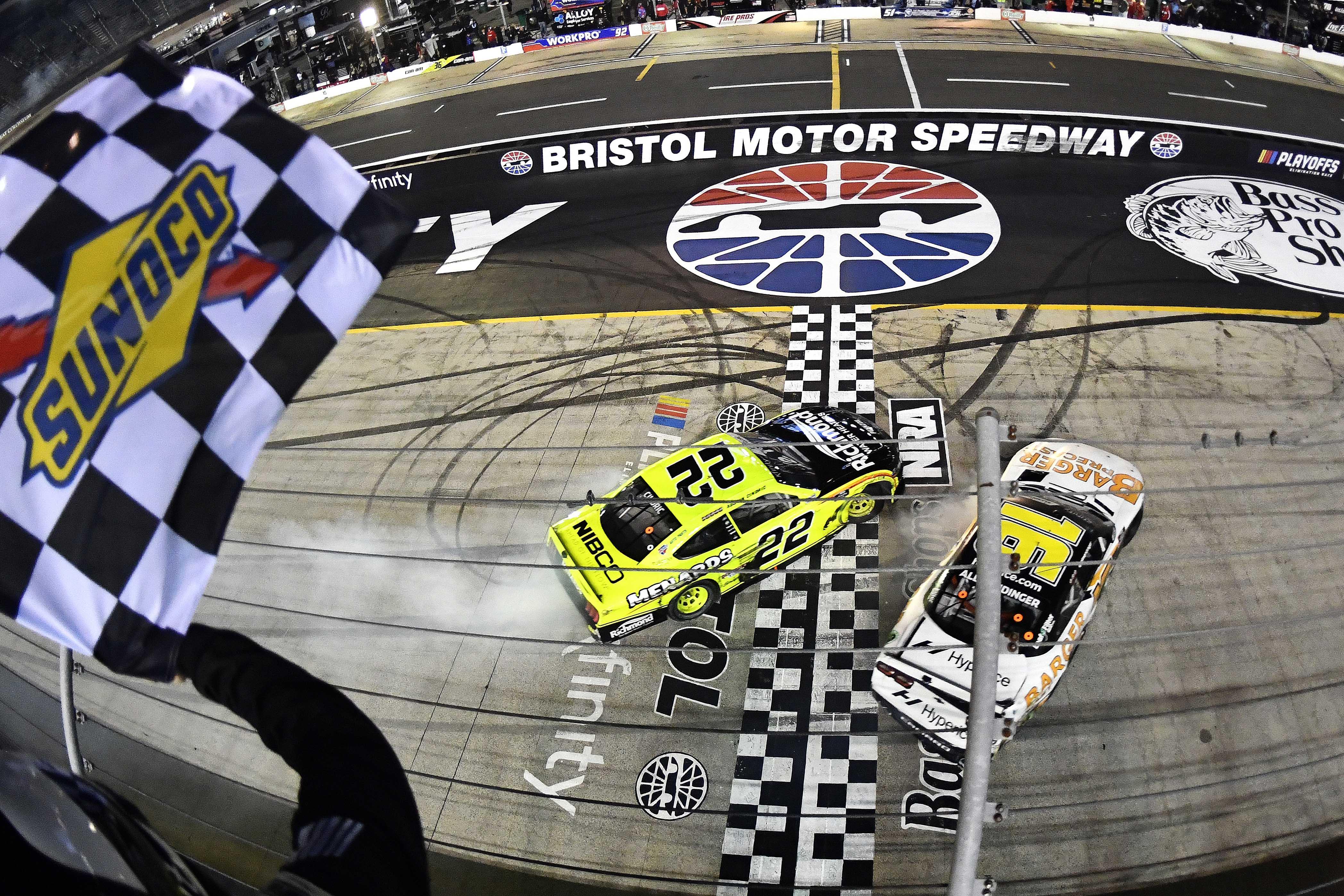 AJ Allmendinger, Austin Cindric crash at finish - Bristol Motor Speedway - NASCAR Xfinity Series