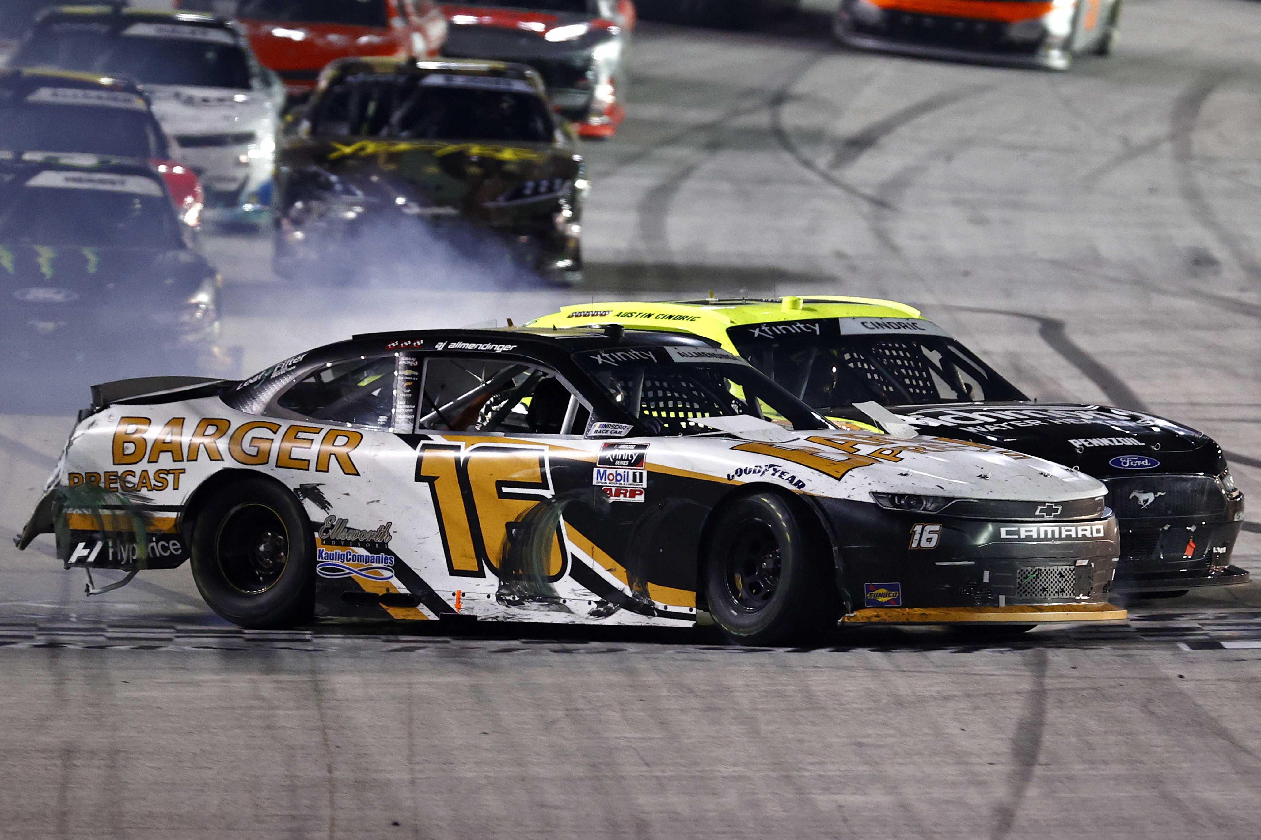 Aj Allmendinger, Austin Cindric crash at Bristol Motor Speedway finish line - NASCAR Xfinity Series