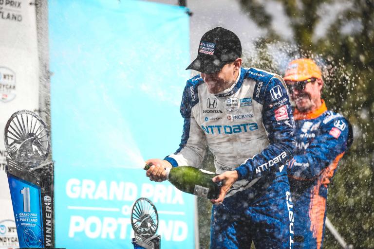 Alex Palou in victory lane at Portland International Raceway - Indycar Series