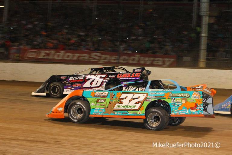 Brandon Overton and Bobby Pierce - Eldora Speedway - Dirt Late Model Racing