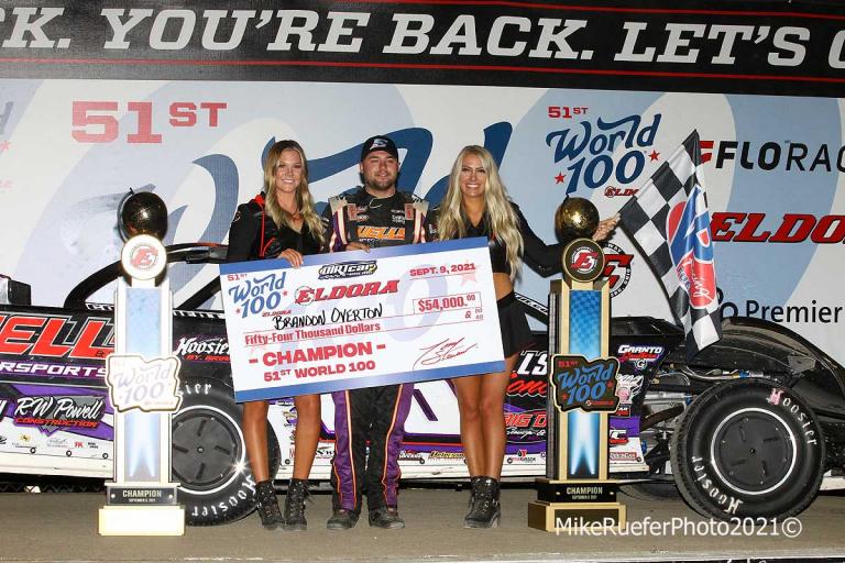 Brandon Overton in victory lane at Eldora Speedway - World 100
