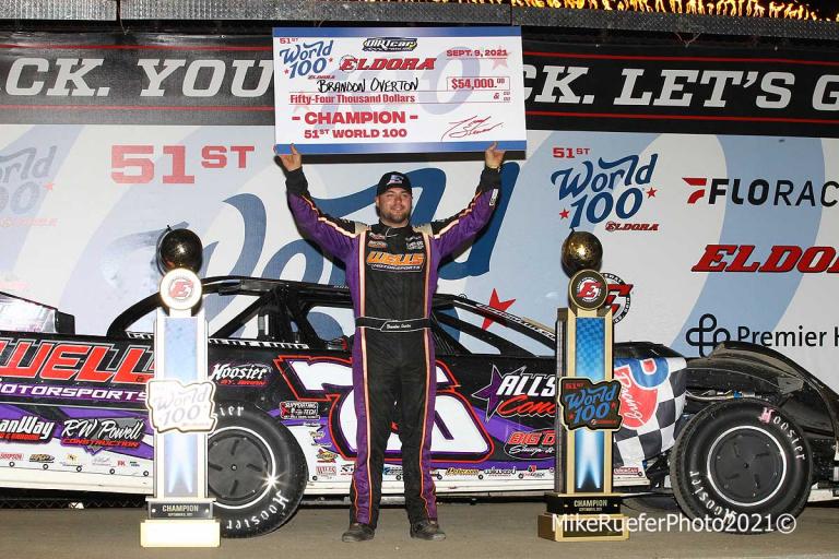 Brandon Overton stands in victory lane at Eldora Speedway - World 100