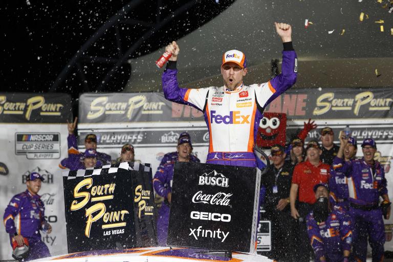 Danny Hamlin in victory lane at Las Vegas Motor Speedway - NASCAR Cup Series