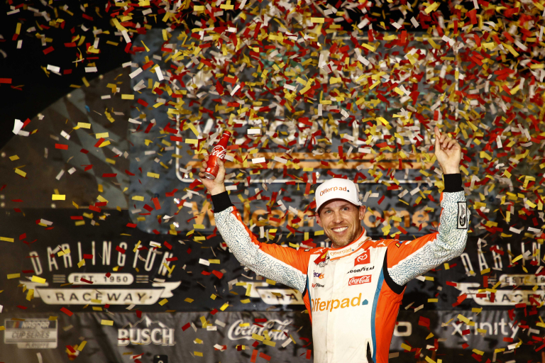 Denny Hamlin in victory lane at Darlington Raceway - NASCAR Cup Series