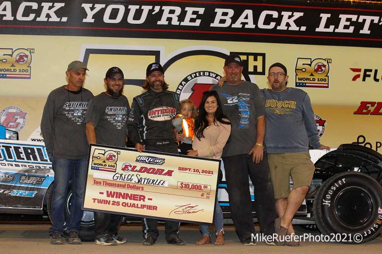 Gregg Satterlee in victory lane - Eldora Speedway - Dirt late model racing