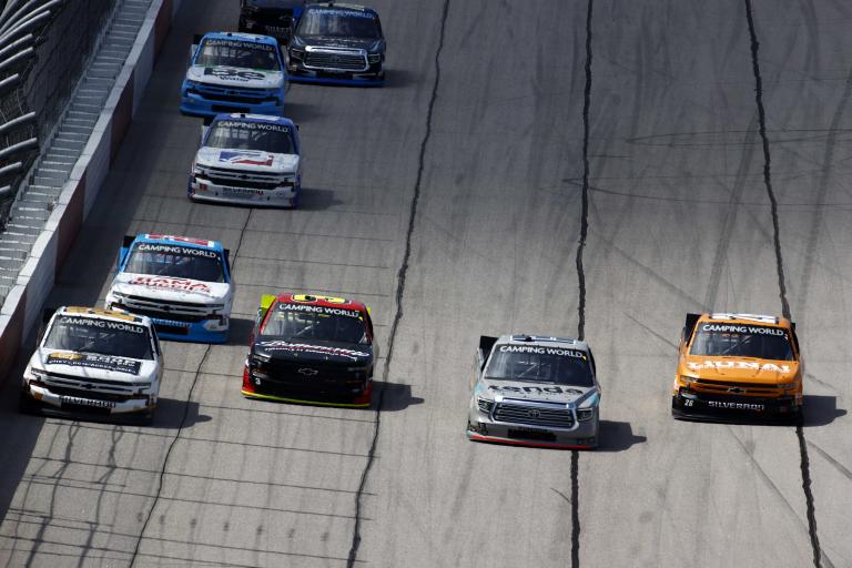 Johnny Sauter, Tyler Ankrum, Jordan Anderson, Jack Wood - NASCAR Truck Series - Darlington Raceway - Four Wide