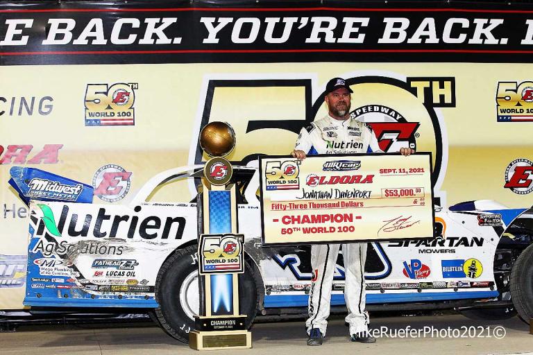 Jonathan Davenport stands in victory lane - Eldora Speedway - Dirt Track Racing