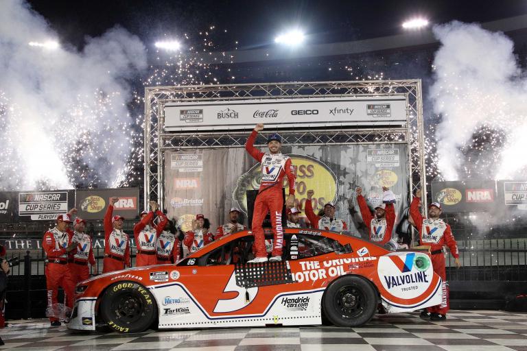 Kyle Larson in victory lane - Bristol Motor Speedway - NASCAR Cup Series
