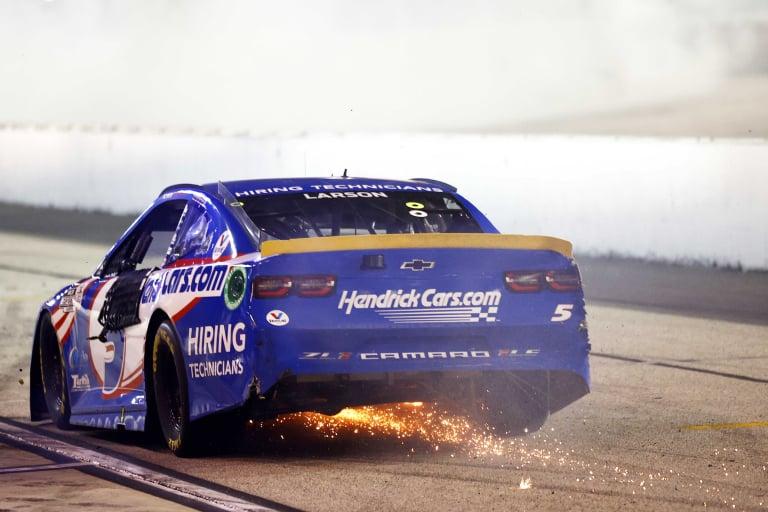 Kyle Larson rides wall - Darlington Raceway - NASCAR Cup Series