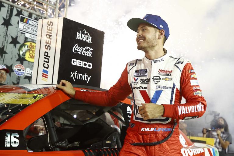 Kyle Larson stands in victory lane - Bristol Motor Speedway - NASCAR Cup Series