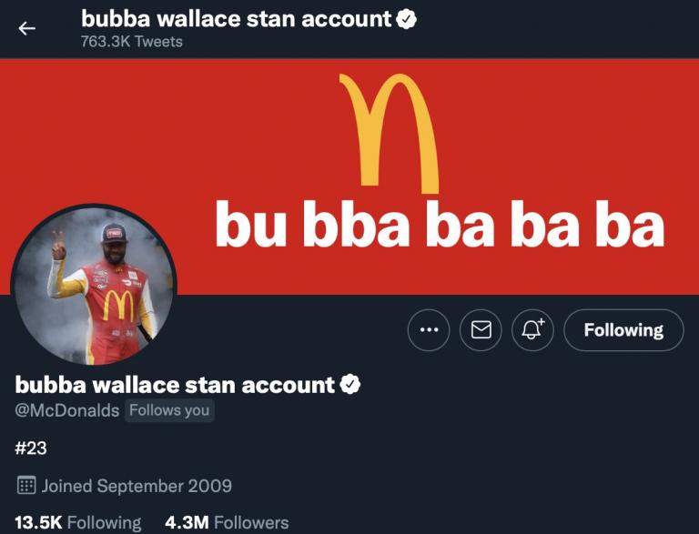 Bubba Wallace stan account