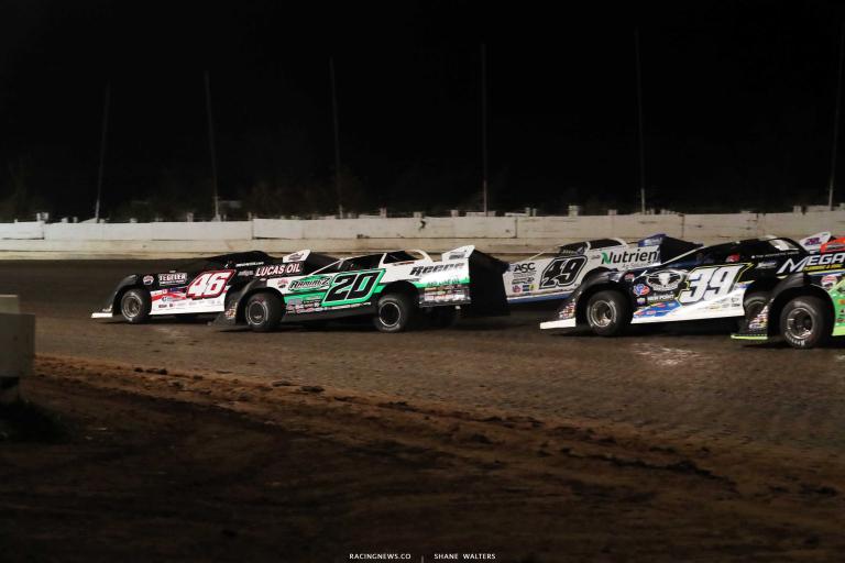 Earl Pearson Jr, Jimmy Owens, Jonathan Davenport, Tim McCreadie - PA Motor Speedway - Lucas Dirt A35I0309