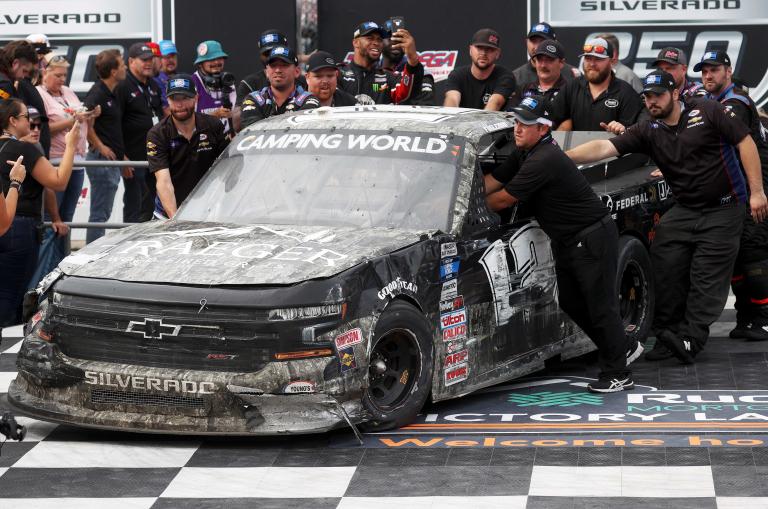 Tate Fogleman - in victory lane - NASCAR Truck Series - Talladega Superspeedway